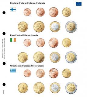 1 x Lindner 1108-3 Karat Vordruckblatt EURO Finnland / Irland / Griechenland Kursmünzensätze KMS