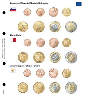 1 x Lindner 1108-16 Karat Vordruckblatt EURO Slowenien / Malta / Zypern Kursmünzensätze KMS