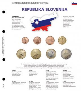 1 x Lindner 1109-16 Karat K8 Farbiges Vordruckblatt + EURO Slowenien Kursmünzensatz KMS