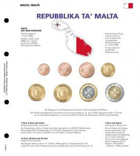 1 x Lindner 1109-17 Farbiges Karat K8 Vordruckblatt + EURO Malta Kursmünzensatz KMS