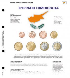 1 x Lindner 1109-18 Karat K8 Farbiges Vordruckblatt + EURO Zypern Kursmünzensatz KMS