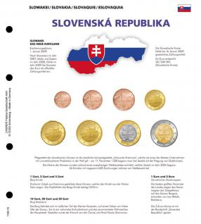 1 x Lindner 1109-19 Karat K8 Farbiges Vordruckblatt + EURO Slowakei Kursmünzensatz KMS