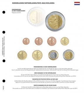 1 x Lindner 1109-50 Karat K8 Farbiges Vordruckblatt Niederlande Thronwechsel + EURO Kursmünzensatz KMS - Vorschau 1
