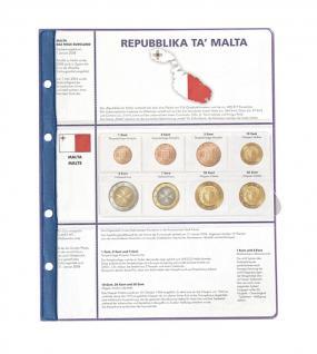 1 x Lindner 8450-17 Vordruckblatt + Münzblatt 3 KMS Malta Kursmünzensätze EURO COLLECTION