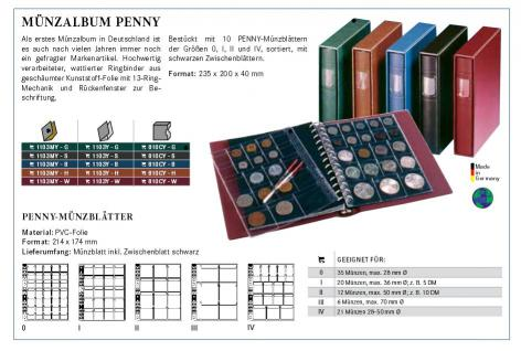 LINDNER 1103MY - H Penny Münzalbum Album Hellbraun Braun 10 Münzhüllen I II III IV für Münzen bis 70 mm Mixed - Vorschau 5