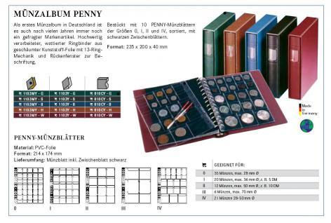 LINDNER 1103MY-G Penny Münzalbum Album Grün 10 Münzhüllen I II III IV für Münzen bis 70 mm Mixed - Vorschau 5