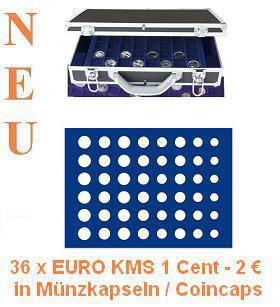 SAFE 268 -185 Alu Münzkoffer mit 6 Tableaus für 36 x EURO Münzen KMS Kursmünzensätze 1, 2, 5, 10, 20, 50 Cent - 1, 2 EURO in Münzkapseln