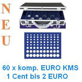 SAFE 268 -183 Alu Münzkoffer 6 Tableaus 60 komplette EURO KMS Kursmünzensätze 1 Cent - 2 EURO Münzen