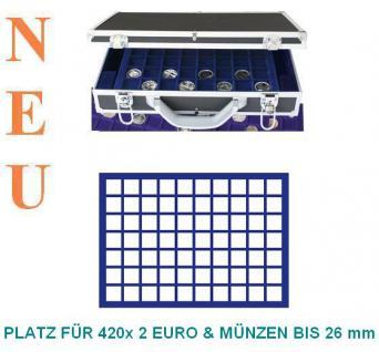SAFE 268 -182 Alu Münzkoffer 6 Tableaus 420 quadratische Fächer 26 mm für 2 Euro Münzen & Münzkapseln bis 20 mm