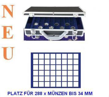 SAFE 268 -184 Alu Münzkoffer 6 Tableaus 288 eckige Fächer 33 mm 10 Euro & 2 € in Münzkapseln 26 - 5 Euro Blauer Planet Klimazonen in Münzkapseln 27, 5 mm