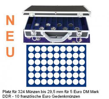 SAFE 268 -189 Alu Münzkoffer 6 Tableaus 324 runde Fächer 29, 5 mm - 10 Euro Luft bewegt 5 DM Mark DDR - 5 Euro Blauer Planet Erde 2016 - 2021 französische 10 Euro - 20 / 2 ÖS