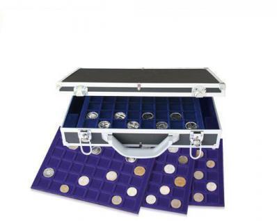 SAFE 268 ALU Münzkoffer DIAMANT SCHWARZ STANDARD 5 blauen Tableaus Mixed für 262 Münzen