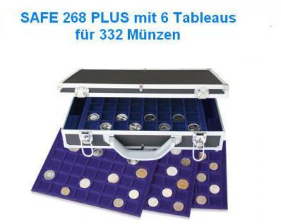 SAFE 268 PLUS ALU Münzkoffer DIAMANT SCHWARZ 6 blauen Tableaus Mixed für 332 Münzen