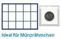 1 x SAFE 187 Blaue Münztableaus 15 eckige Fächer für Münzen bis 50 mm Münzrähmchen - Lindner Octo Carree Leuchtturm Quadrum SAFE Square Münzkapseln