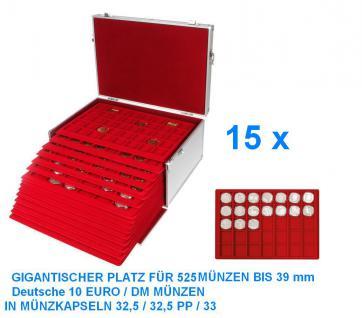 SAFE 273 - 2329-35 ALU Münzkoffer GIGANT 15 MÜNZTABLEAUS für 525 x Deutsche 10 Euro DM Mark DDR in Münzkapseln 32, 5 - 32, 5 PP - 33