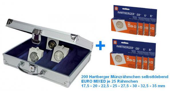 SAFE 548 ALU Münzkoffer Premium MÜNZRÄCHMCHEN + 200 Hartberger Münzrähmchen selbstklebend EURO MIXED