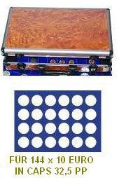 SAFE 168 - 192 ALU Münzkoffer Wurzelholz 6 Tableaus 144 runde Fächer 38 mm 10 - 20 Euro in original Münzkapseln 32, 5 PP randlos