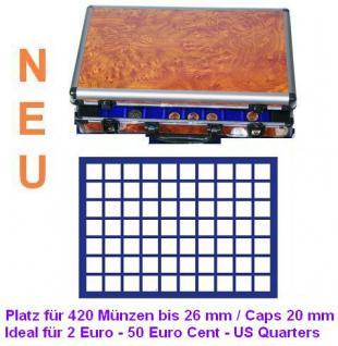 SAFE 168 - 182 ALU Münzkoffer Wurzelholz 6 Tableaus 420 quadratische Fächer 26 mm ideal für 2 Euro Münzen & Münzkapseln 20 mm