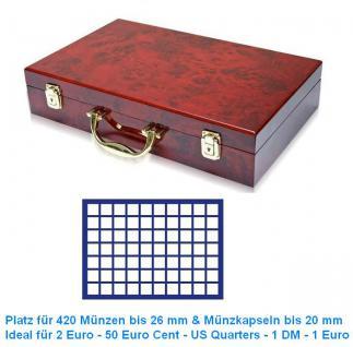 SAFE 169 - 182 Holz Münzkoffer Premium im Wurzelholz Design 6 Tableaus 420 Fächer 26mm 2 Euro Münzen & Münzkapseln bis 20 mm