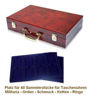 SAFE 169 - 180 Holz Münzkoffer Premium im Wurzelholz Design 5 Tableaus 40 Fächern 62 x 84 mm Taschenuhren Militaria Schmuck