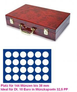 SAFE 169 - 192 Holz Münzkoffer Premium im Wurzelholz 6 Tableaus 144 runde Fächer 38 mm 10 Euro in orig Münzkapseln 32, 5 PP randlos