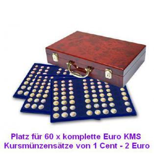 SAFE 169 - 183 Holz Münzkoffer Premium im Wurzelholz Design 6 Tableaus 60 komplette Euro KMS Kursmünzensätze von 1 Cent - 2 Euro