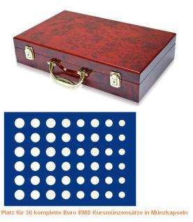 SAFE 169 - 185 Holz Münzkoffer Premium im Wurzelholz Design 6 Tableaus 36 Euro KMS Kursmünzensätze 1 Cent - 2 Euro in Münzkapseln