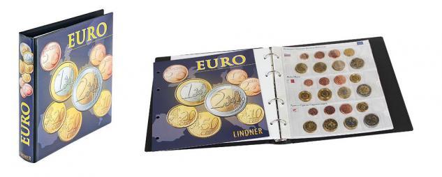 LINDNER 1608M KARAT Münzalbum Vordruckalbum Euro Kursmünzensätze KMS mit 6 Vordruckblättern für 19 Euro Länder inklusive Lettland