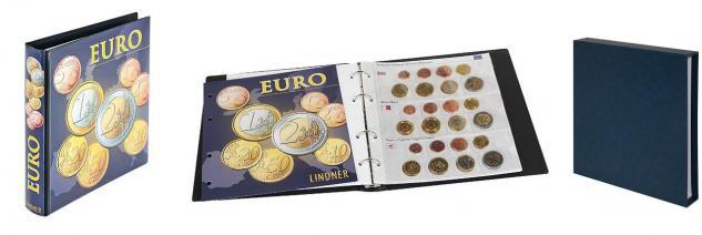 LINDNER 1608M + 810D-B KARAT Münzalbum Vordruckalbum Euro Kursmünzensätze 19 Länder inklusive Lettland + Kassette
