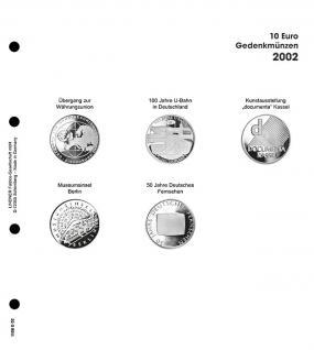 1 x LINDNER 1108D02 Einzelblatt Ergänzungsblätter K2 + Vordruckblatt 10 Euro Münzen Deutschland 2002
