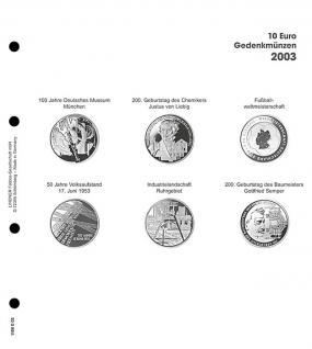 1 x LINDNER 1108D03 Einzelblatt Ergänzungsblätter K2 + Vordruckblatt 10 Euro Münzen Deutschland 2003 - Vorschau 1