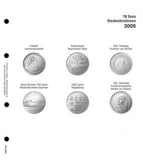 1 x LINDNER 1108D05 Einzelblatt Ergänzungsblätter K2 + Vordruckblatt 10 Euro Münzen Deutschland 2005