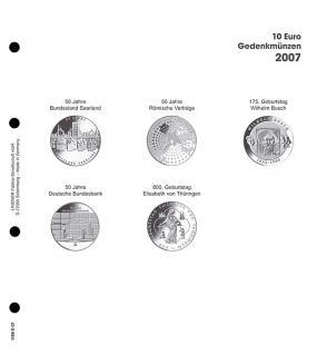 1 x LINDNER 1108D07 Einzelblatt Ergänzungsblätter K2 + Vordruckblatt 10 Euro Münzen Deutschland 2007