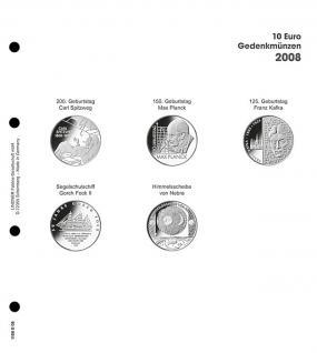 1 x LINDNER 1108D08 Einzelblatt Ergänzungsblätter K2 + Vordruckblatt 10 Euro Münzen Deutschland 2008 - Vorschau 1