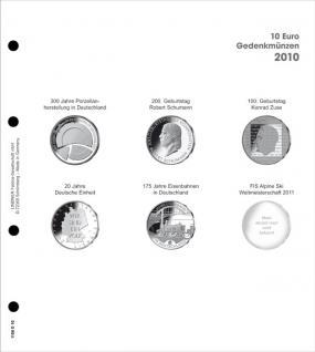 1 x LINDNER 1108D10 Einzelblatt Ergänzungsblätter K2 + Vordruckblatt 10 Euro Münzen Deutschland 2010