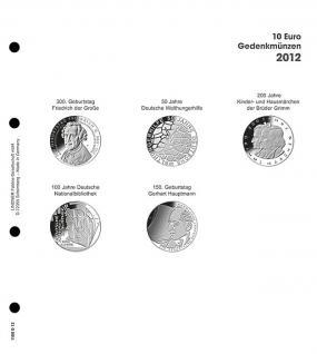 1 x LINDNER 1108D12 Einzelblatt Ergänzungsblätter K2 + Vordruckblatt 10 Euro Münzen Deutschland 2012