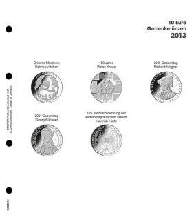 1 x LINDNER 1108D13 Einzelblatt Ergänzungsblätter K2 + Vordruckblatt 10 Euro Münzen Deutschland 2013