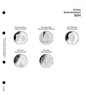 1 x LINDNER 1108D14 Einzelblatt Ergänzungsblätter K2 + Vordruckblatt 10 Euro Münzen Deutschland 2014