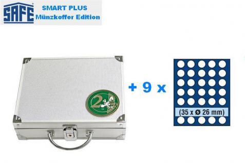 SAFE 174 PLUS ALU Münzkoffer 9 Tableaus 6326 für 315 Münzen bis 26 mm x 2 EURO Münzen Gedenkmünzen - Vorschau 2