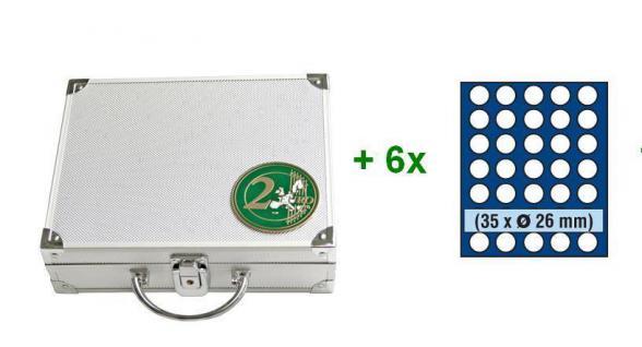 SAFE 174 STANDARD ALU Münzkoffer 6 Tableaus 6326 für 210 Münzen bis 26 mm x 2 EURO Münzen Gedenkmünzen - Vorschau 2