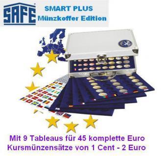 SAFE 177 PLUS ALU Münzkoffer mit 9 Tableaus 6340 für 45 x EUROMÜNZEN KMS Kursmünzensätze von 1 Cent bis 2 Euromünzen + Flaggenset
