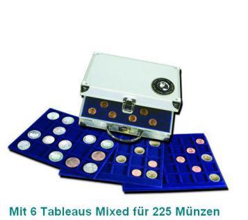 SAFE 176 ALU Münzkoffer MIXED mit 6 Tableaus 1x 6319, 1x 6322, 1x 6327, 2x 6333, 1x6341 für über 200 Münzen