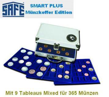 SAFE 176 PLUS ALU Münzkoffer MIXED 9 Tableaus je 1x 6317 6319 6322 6324 6327 6341 6345 2x 6333 für 354 Münzen bis 45 mm