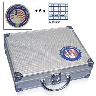 SAFE 230 - 6324 STANDARD ALU Münzkoffer SMART USA 6 Tableaus 288 quadratische Fächer 24, 5 mm für US State Quarters