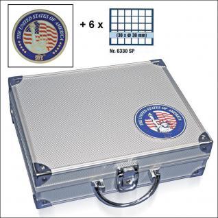 SAFE 230 - 6330 STANDARD ALU Münzkoffer SMART USA 6 Tableaus 180 Fächer 30 mm & Münzkapseln 24, 5 mm US Quarters in Münzkapseln