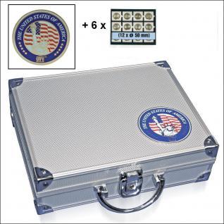 SAFE 230 - 6350 STANDARD ALU Münzkoffer SMART USA 6 Tableaus 72 Fächer 50 mm Münzrähmchen Quadrum Octo Münzkapseln