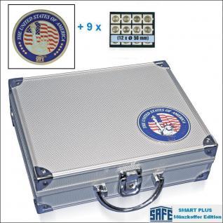 SAFE 230 - 6350 PLUS ALU Münzkoffer SMART USA 9 Tableaus 108 Fächer 50 mm Münzrähmchen Quadrum Octo Münzkapseln