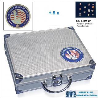 SAFE 230 - 6360 PLUS ALU Sammkoffer SMART USA 9 Tableaus ohne Einteilung für Pins Button Anstecknadeln Militatia Orden Brosche