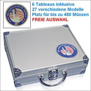SAFE 230 ALU Münzkoffer USA mit 6 Tableaus - 29 Modelle für bis zu 480 Münzen - FREIE AUSWAHL