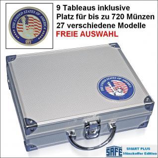 SAFE 230 PLUS ALU Münzkoffer USA mit 9 Tableaus - 27 Modelle für bis zu 720 Münzen - FREIE AUSWAHL